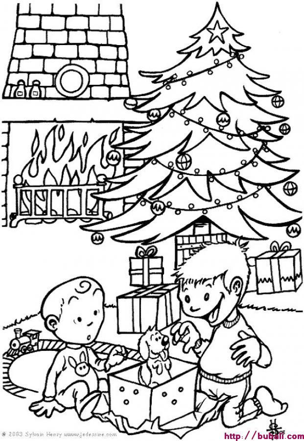 Dibujos-para-pintar-NAVIDAD-Regalos-bajo-el-arbol-de-la-navidad | BUBALI
